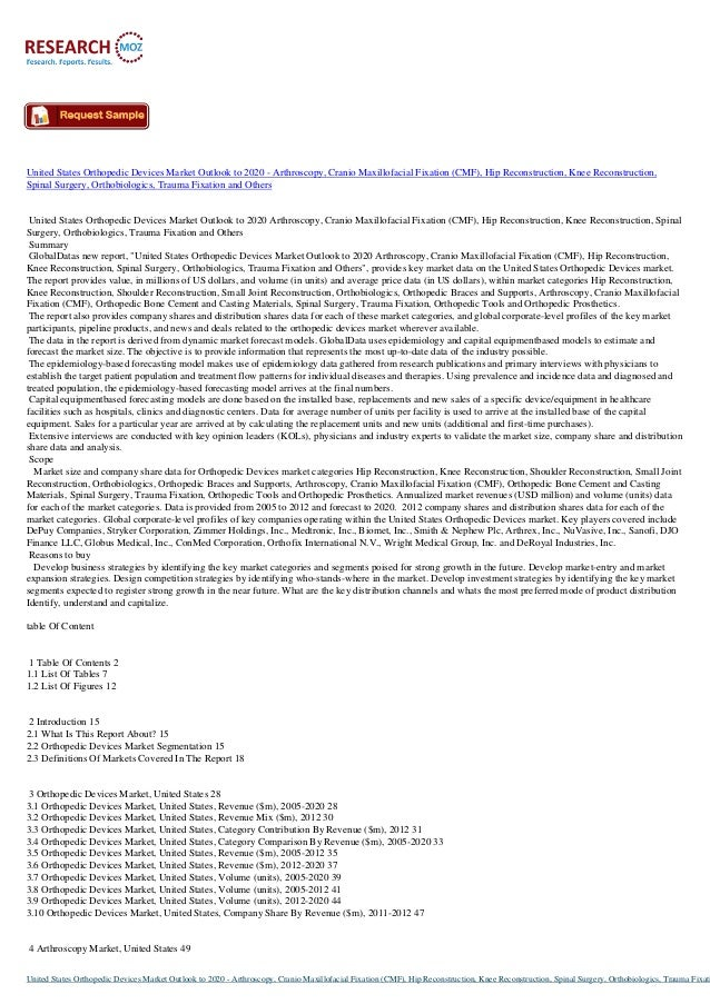 United States Orthopedic Devices Market Outlook to 2020 - Arthroscopy, Cranio Maxillofacial Fixation (CMF), Hip Reconstruc...