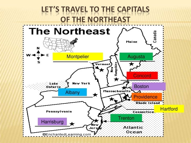 Northeast States and Capitals Map | My blog