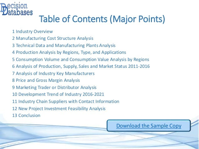 Table of Contents (Major Points) 1 Industry Overview 2 Manufacturing Cost Structure Analysis 3 Technical Data and Manufact...