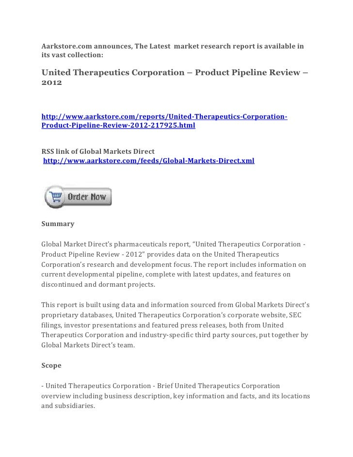 Aarkstore.com announces, The Latest market research report is available inits vast collection:United Therapeutics Corporat...