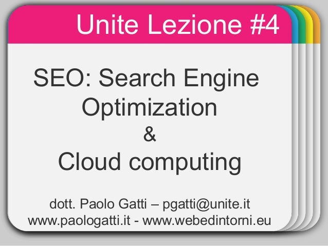 Unite Lezione #4              WINTER             TemplateSEO:       Search Engine   Optimization                  &    Clo...