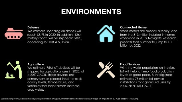 ENVIRONMENTS Infrastructure We estimate municipalities worldwide will increase their spending on IoT systems at a 30% CAGR...