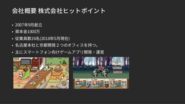 会社概要 株式会社ヒットポイント • 2007年9月創立 • 資本金1000万 • 従業員数26名(2018年5月現在) • 名古屋本社と京都開発2つのオフィスを持つ。 • 主にスマートフォン向けゲームアプリ開発・運営