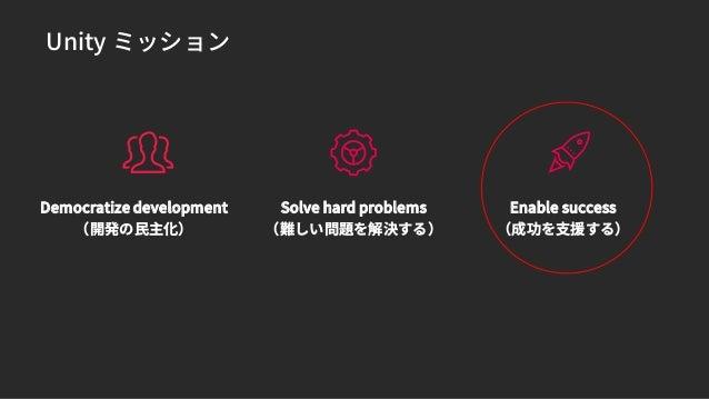 Unity ミッション Democratize development Solve hard problems Enable success
