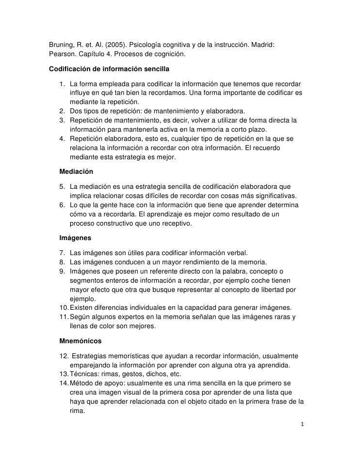 Bruning, R. et. Al. (2005). Psicología cognitiva y de la instrucción. Madrid:Pearson. Capítulo 4. Procesos de cognición.Co...