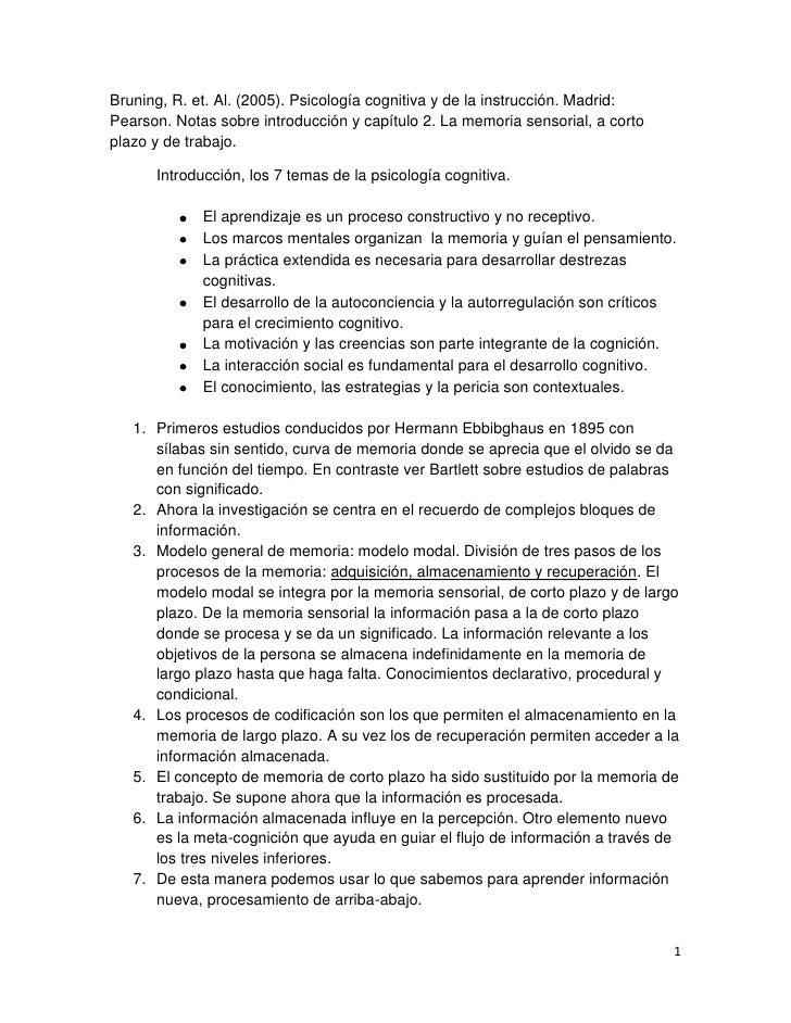 Bruning, R. et. Al. (2005). Psicología cognitiva y de la instrucción. Madrid:Pearson. Notas sobre introducción y capítulo ...