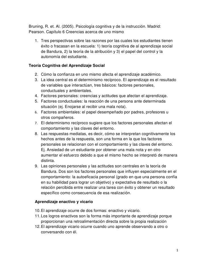Bruning, R. et. Al. (2005). Psicología cognitiva y de la instrucción. Madrid:Pearson. Capítulo 6 Creencias acerca de uno m...