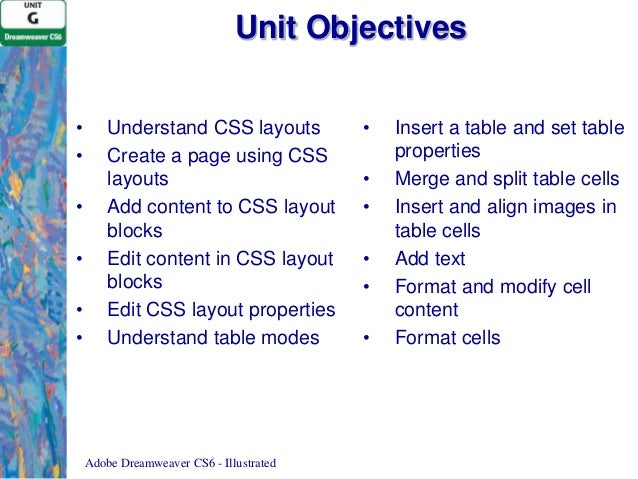 Unit g adobe dreamweaver cs6 - Html table cell properties ...