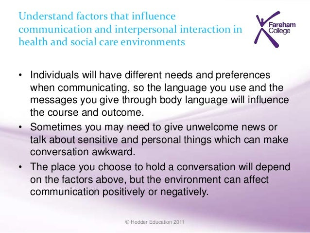 communication needs in health and social care