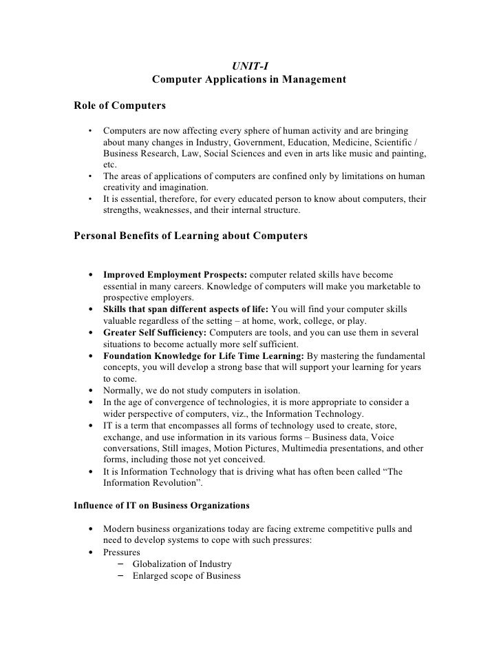 UNIT-I                    Computer Applications in Management  Role of Computers     •   Computers are now affecting every...