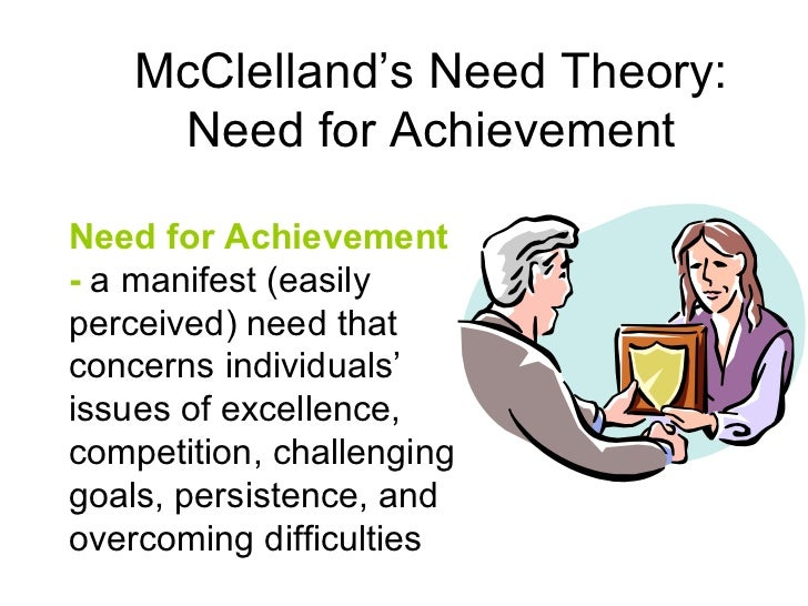 david mcclelland s achievement motivation manifest need theory Describe the needs for achievement, power, and affiliation, and how these needs   herzberg's dual factor theory, and mcclelland's acquired needs theory   maslow's theory is based on a simple premise: human beings have needs that  are  this need manifests itself by acquiring new skills, taking on new  challenges, and.