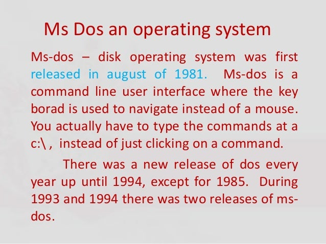 Unit II - MS DOS Commands