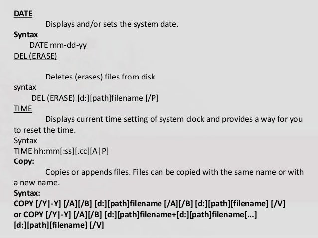 dos internal and external commands with syntax pdf