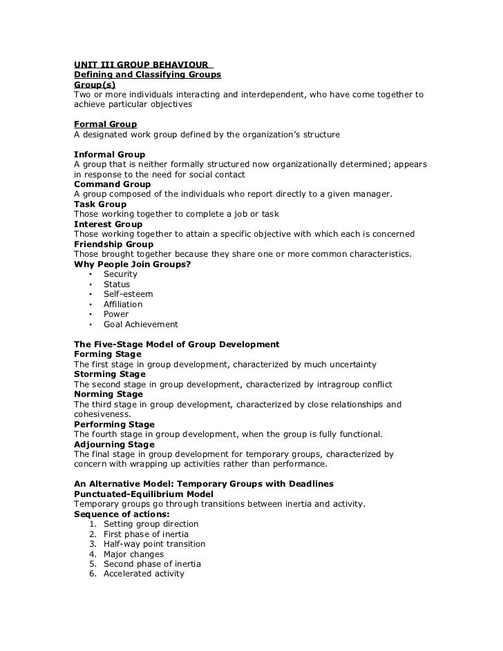 UNIT III GROUP BEHAVIOURDefining and Classifying GroupsGroup(s)Two or more individuals interacting and interdependent, who...