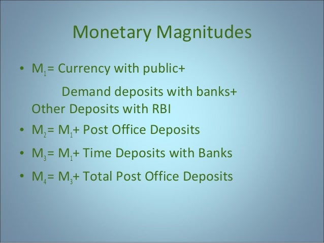 Monetary Magnitudes • M1 = Currency with public+ Demand deposits with banks+ Other Deposits with RBI • M2 = M1+ Post Offic...