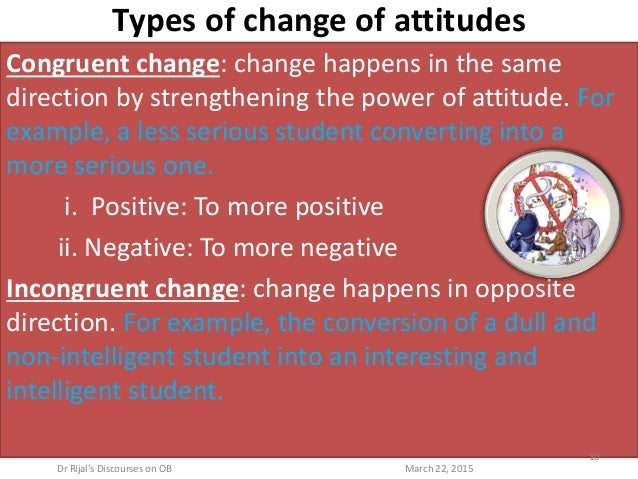 Types of change of attitudes Congruent change: change happens in the same direction by strengthening the power of attitude...