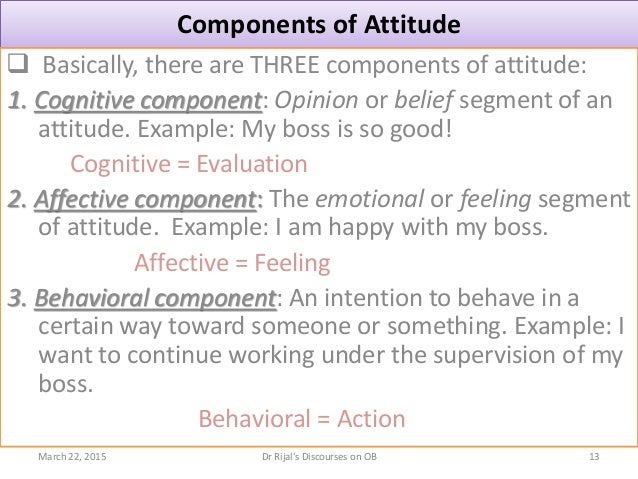 Components of Attitude  Basically, there are THREE components of attitude: 1. Cognitive component: Opinion or belief segm...