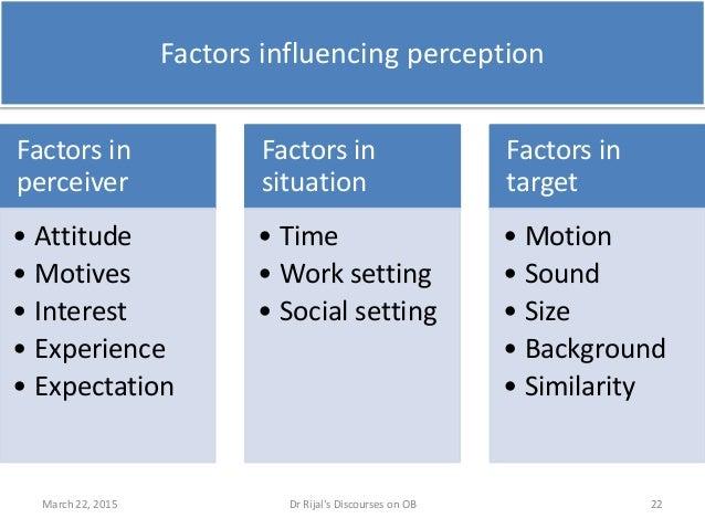 Factors influencing perception Factors in perceiver • Attitude • Motives • Interest • Experience • Expectation Factors in ...