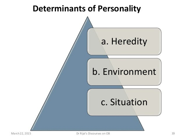 Determinants of Personality a. Heredity b. Environment c. Situation March 22, 2015 39Dr Rijal's Discourses on OB