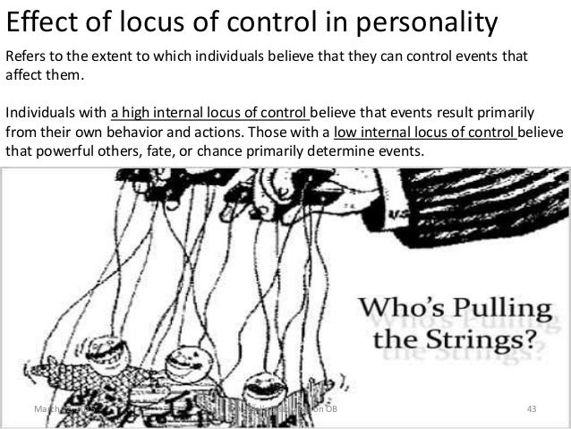 Effect of locus of control in personality Refers to the extent to which individuals believe that they can control events t...