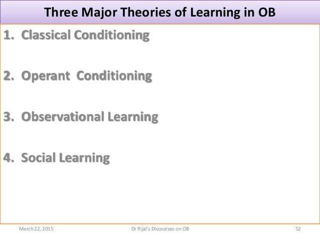 Three Major Theories of Learning in OB 1. Classical Conditioning 2. Operant Conditioning 3. Observational Learning 4. Soci...