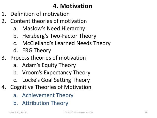 4. Motivation 1. Definition of motivation 2. Content theories of motivation a. Maslow's Need Hierarchy b. Herzberg's Two-F...