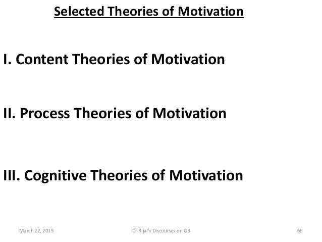 Selected Theories of Motivation I. Content Theories of Motivation II. Process Theories of Motivation III. Cognitive Theori...
