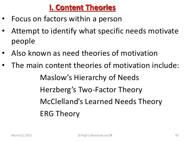 I. Content Theories • Focus on factors within a person • Attempt to identify what specific needs motivate people • Also kn...