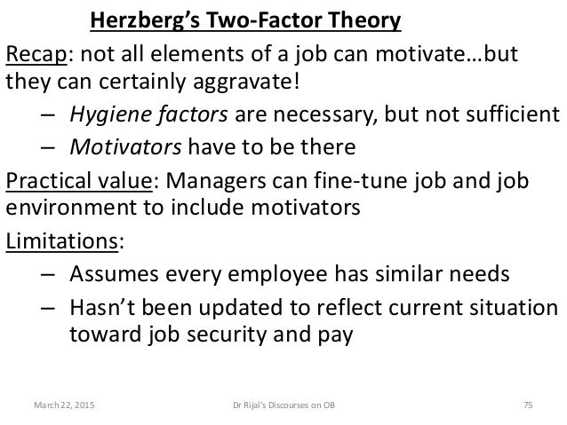 Herzberg's Two-Factor Theory Recap: not all elements of a job can motivate…but they can certainly aggravate! – Hygiene fac...