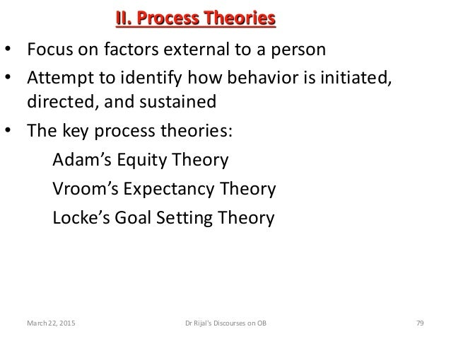 II. Process Theories • Focus on factors external to a person • Attempt to identify how behavior is initiated, directed, an...