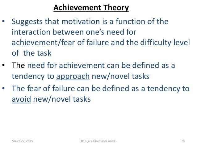 Achievement Theory • Suggests that motivation is a function of the interaction between one's need for achievement/fear of ...