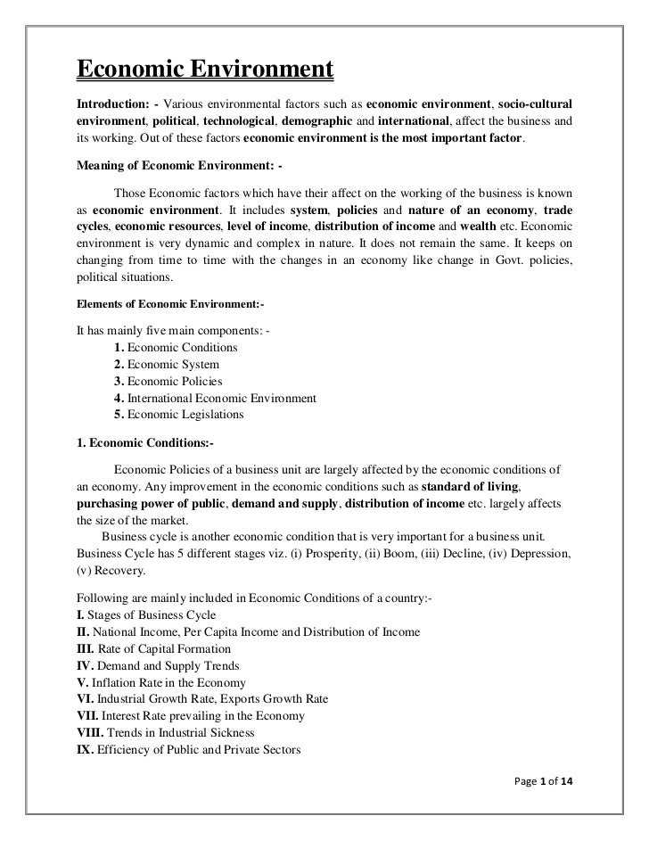 Economic EnvironmentIntroduction: - Various environmental factors such as economic environment, socio-culturalenvironment,...