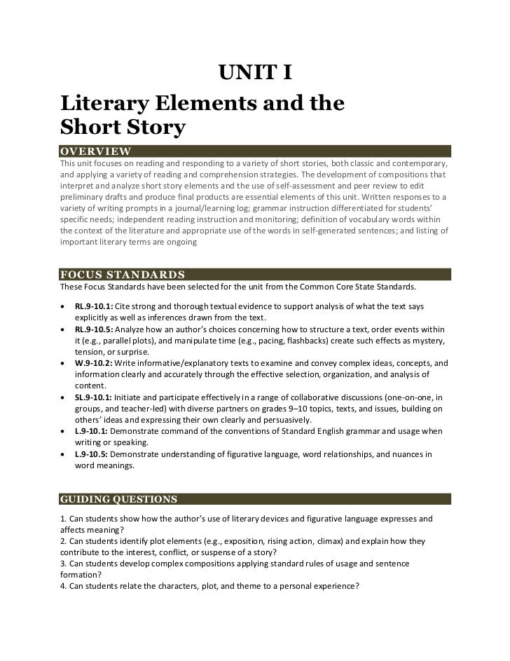 UNIT ILiterary Elements and theShort StoryOVERVIEWThis unit focuses on reading and responding to a variety of short storie...
