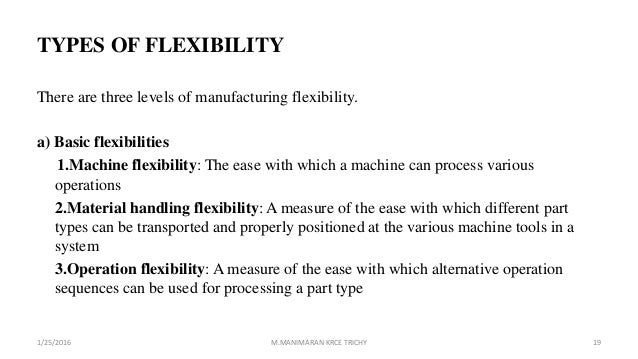 TYPES OF FLEXIBILITY There are three levels of manufacturing flexibility. a) Basic flexibilities 1.Machine flexibility: Th...