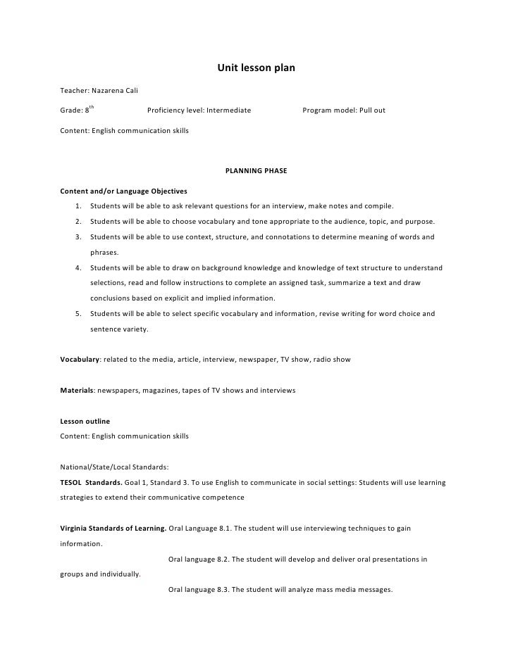 Unit lesson plan<br />Teacher: Nazarena Cali                                  <br />Grade: 8th                            ...