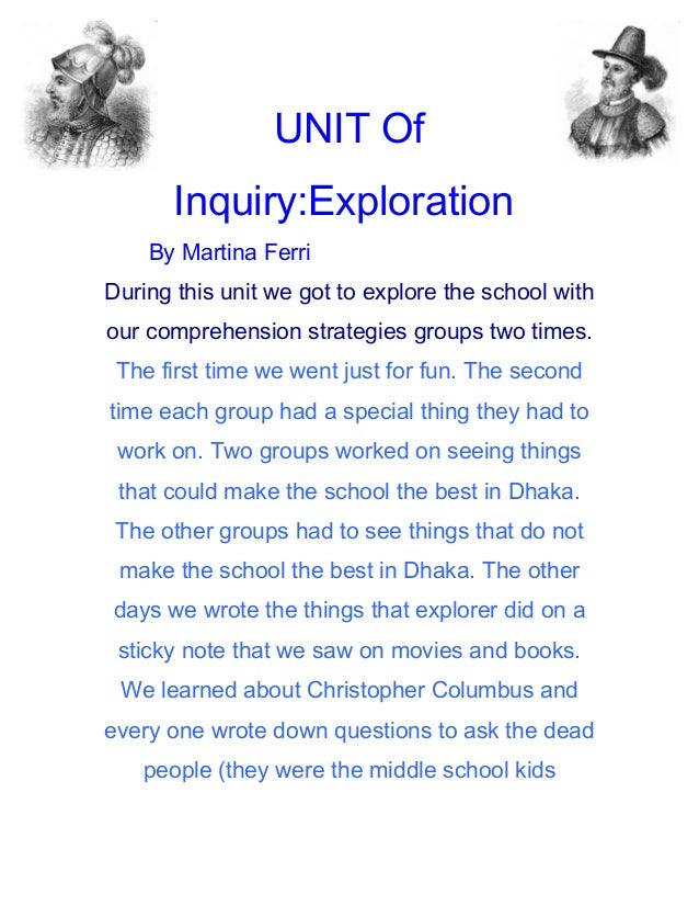 UNIT Of       Inquiry:Exploration    By Martina FerriDuring this unit we got to explore the school withour comprehension s...