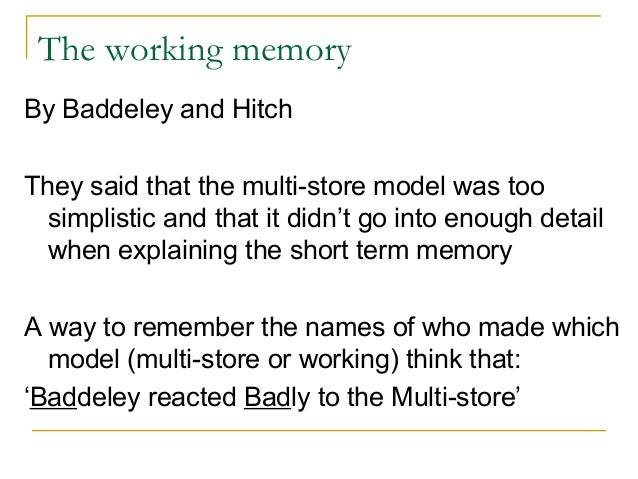 critically evaluate baddeley s working memory model In the course companion, memory models can be found on pp 70 - 76central executive: the part of baddeley & hitchs working memory model responsible for the control and regulation of cognitive ib psychology.