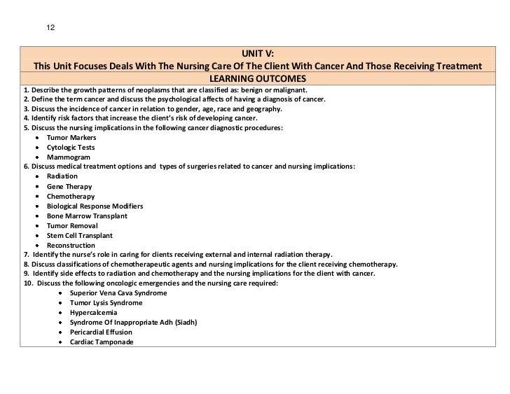 12                                                  UNIT V:   This Unit Focuses Deals With The Nursing Care Of The Client ...