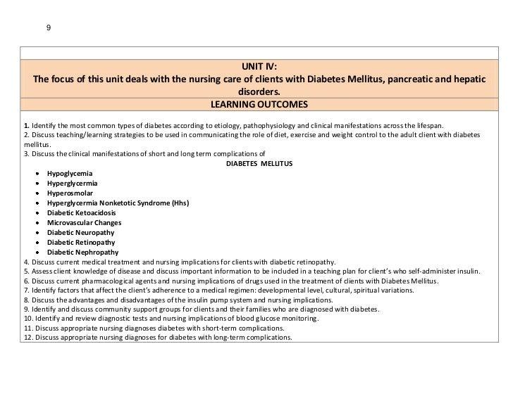 9                                                    UNIT IV:  The focus of this unit deals with the nursing care of clien...