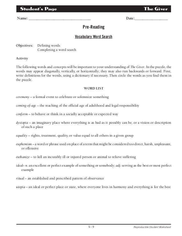 Unit plan and quizzes – The Giver Vocabulary Worksheets