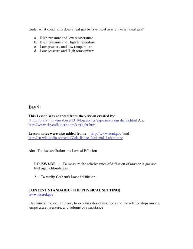 Unit plan for gas laws