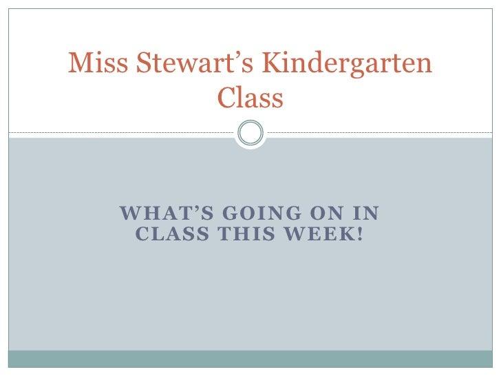 Miss Stewart's Kindergarten          Class   WHAT'S GOING ON IN    CLASS THIS WEEK!
