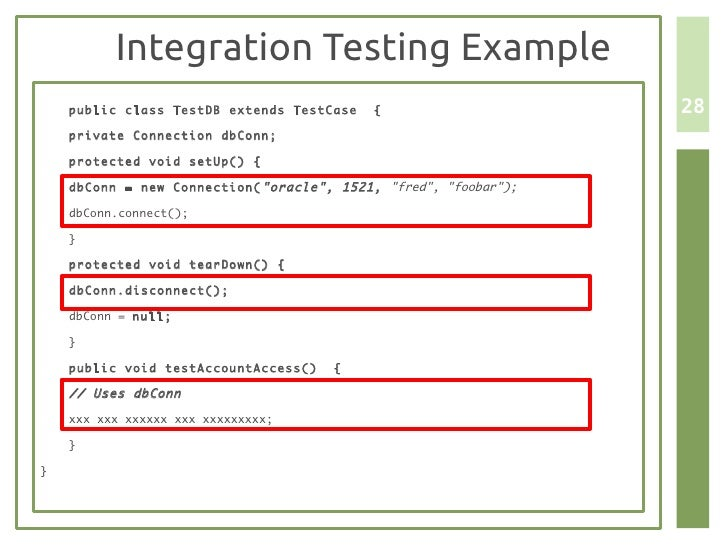 Unit testing and scaffolding for Integration test case template