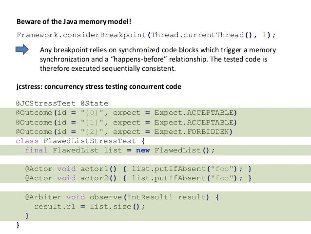 Beware of the Java memory model! Framework.considerBreakpoint(Thread.currentThread(), 1); Any breakpoint relies on synchro...