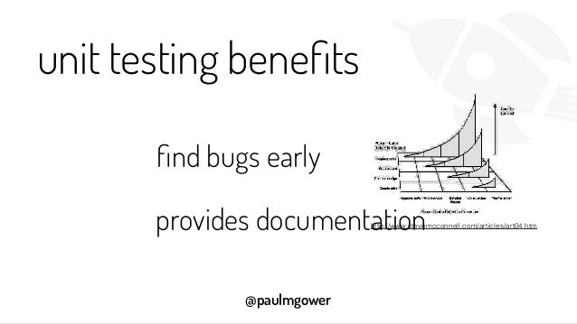 @paulmgower unit testing benefits find bugs early http://www.stevemcconnell.com/articles/art04.htmprovides documentation