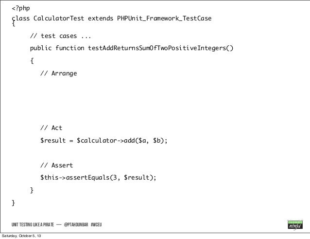 <?php class CalculatorTest extends PHPUnit_Framework_TestCase { // test cases ... public function testAddReturnsSumOfTwoPo...