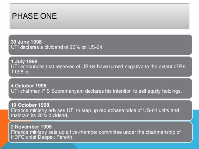 PHASE ONE30 June 1998UTI declares a dividend of 20% on US-641 July 1998UTI announces that reserves of US-64 have turned ne...