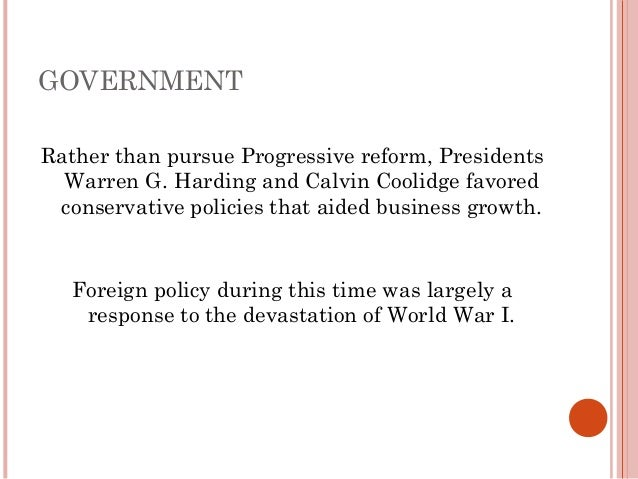 presidents harding and coolidge favored policies that