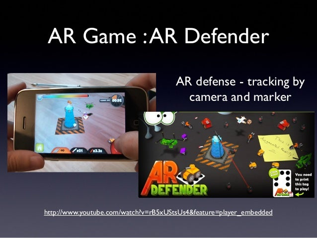 AR Game :AR Defender http://www.youtube.com/watch?v=rB5xUStsUs4&feature=player_embedded AR defense - tracking by camera an...