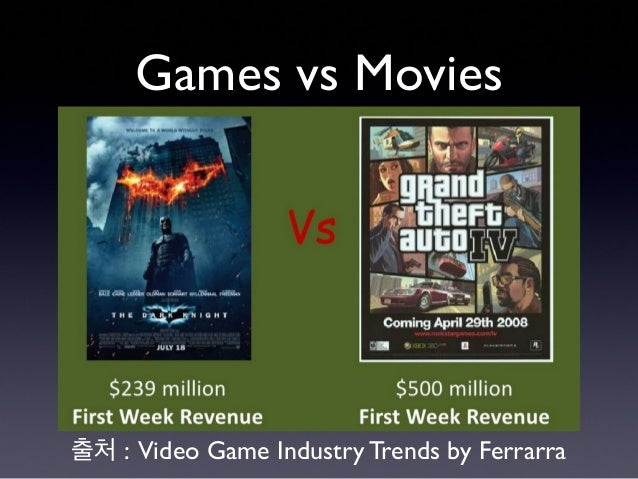 Games vs Movies 출처 : Video Game Industry Trends by Ferrarra